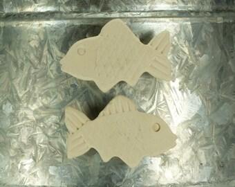 Raku Fish Magnet.  Refrigerator magnet.  White.  Ready to ship.