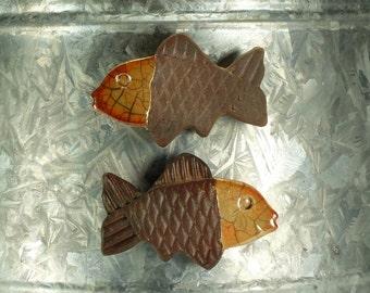 Raku Fish Magnet.  Refrigerator magnet.  Golden orange and brown.  Ready to ship.