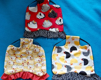 Set of 3 Ruffled Chicken Saddles (Aprons)