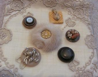 Handmade Vintage Buttons Mink Fur Refrigerator Magnet Set of 6 (#13)