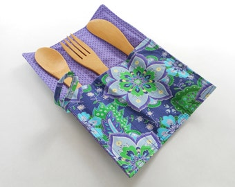 Bamboo cutlery roll up , bamboo flatware