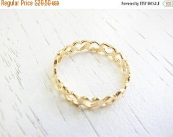 Sale - Gold ring - Thin band ring, Band ring gold, Heart band ring, 14k gold filled ring, Size 8.5 US