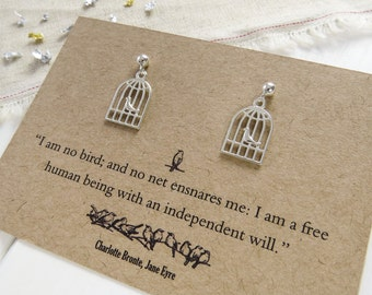 Jane Eyre Silver Birdcage Earrings - Literature Gift for Book Lover - Sterling Silver Earrings - Gift for her - Bronte Quote