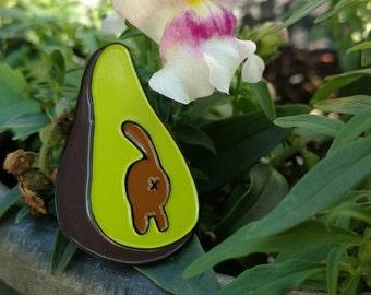 Avo-Cat-o Enamel Pin - cat - cat butt - avocado - lapel pin - rubber clutch - 1.5 inch enamel pin
