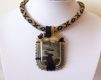 Beadwork Bead Embroidery Pendant Necklace with Chohua Jasper - DEEP FEELINGS - grey - black - gold - modern necklace - beadwork necklace