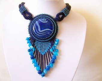 Bead Embroidery Necklace Pendant Beadwork Necklace with Agate - MYSTICAL SKY - sky blue, dark blue necklace - statement necklace