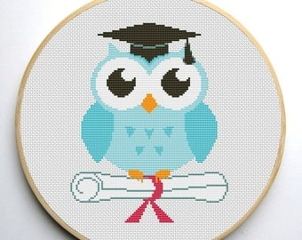 Owl Cross stitch pattern Graduation PDF Instant Download
