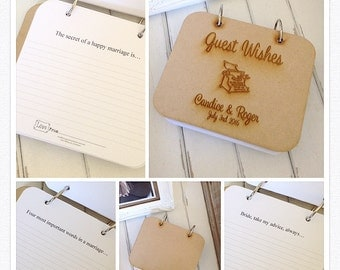 Wedding Wishing Well Cards WOOD Guest Book - 90 Guest Wishes Cards 12 Statements to Complete
