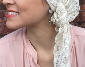 Lace cotton cream natural pre tied hair wrap headcover head scarf with lining.