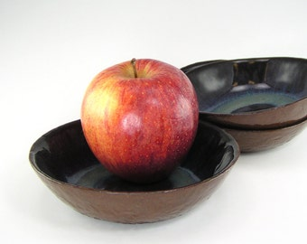 Set of 3 Small Bowls, Blue and Brown Dessert Dish Set, Three Prep Bowls, Ring Bowls, Trinket Dish, Condiment Serving Dishes 09-15-01, 02, 03