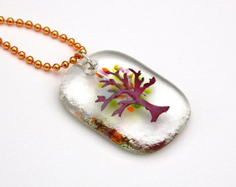 Fused Glass Tree of Life Pendant