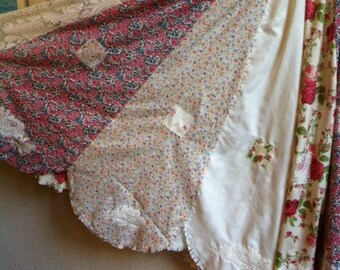 Prairie Patchwork Skirt With Lace Rose Detail