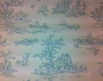 Provence-Toile-de-Jouy egg shell blue 100% cotton curtain upholstery fabric  UK Design