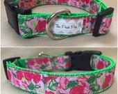 "Handmade Lilly Pulitzer Roses and Turtles 1"" Adjustable Dog Collar - MEDIUM"