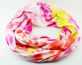 Coral Pink and Yellow Tie Dyed Jersey Knit Inifnity Scarf