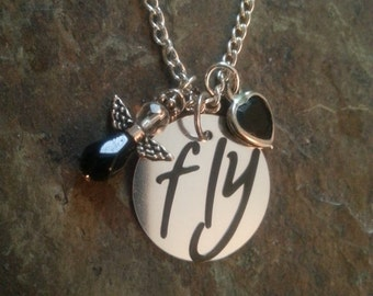 """Silver """"FLY"""" charm necklace. 18 inch silver chain"""