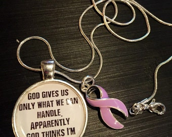 Lavender Light Purple Ribbon Necklace - God thinks I'm Badass - All Cancers Awareness / Epilepsy / Rett Syndrome