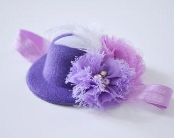 Baby headband with miniature cap, fascinator, newborn photo prop
