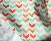 Ready to ship! Baby blanket- Lavender Linens Coral, Metallic Gold and Mint/Aqua, Sparkle, Modern, Metallic, Stripe, baby bedding