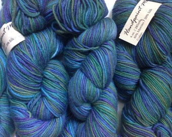 40% Off Cashmere Merino Cherry Tree Hill Handpaints DK Yarn Forest Floor Greens Blues