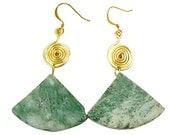 Handmade Spiral/Egyptian Inspired Green Marble Statement Earring
