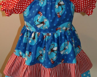 Boutique Style Cat in the Hat Peasant Dress***Size 2T/3T in Stock and Ready to Ship