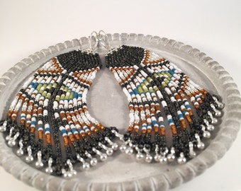 Black Picasso Tribal Seed Bead Earrings, Fringe, Dangle