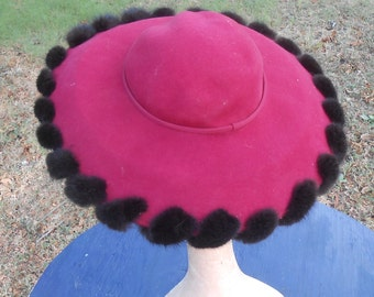 Vintage Felt Fur Trimmed Hat Pink Fuchsia Wide Brim Church Hat b michael  Wide Brim Formal Derby