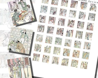 Jane Austen's Printables, SCRABBLE TILE SIZE (.75 x .83 Inches or 19 x 21 mm), 42 Illustrations From All Six Novels Included