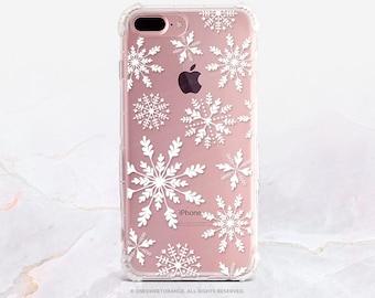 iPhone 8 Case iPhone X Case iPhone 7 Case Snowflakes Clear GRIP Rubber Case iPhone 7 Plus Clear Case iPhone SE Case Samsung S8 Plus Case H11
