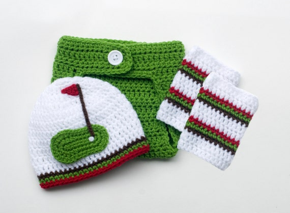 BABY GOLF BEANIE Golf Hat Diaper Cover Outfit by Grandmabilt