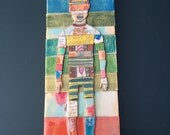 """Wooden mixed media assemblage. Acrylic Painting with Pencil and epoxy. """" Wighat"""" By artist H. Pryor"""