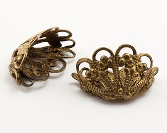 72 Pcs Vintage Filigree Crown 19x11mm Ornate Brass Victorian Steampunk Wire Scrollwork, Dimensional Window Box Basket Finding,