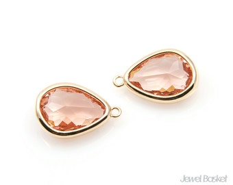 Light Peach Asymmetry Drop Pendant in Gold - 2 pieces of Champagne Glass Teardrop Charm / 11.7 x 16.3mm / SLPG112-P (2pcs)