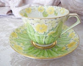 Paragon England Yellow Flower Green Leaf Art Deco Chintz Teacup Cup Saucer