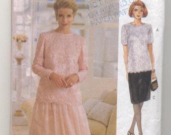 Vogue 8635 Ladies Top and Skirt Vintage Sewing Pattern