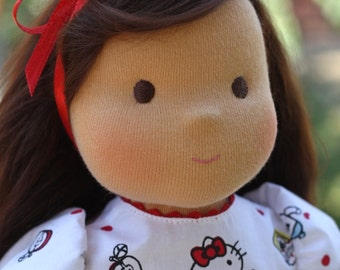 "Waldorf doll natural hair 16"" inches, organic doll, eco friendly,  doll steiner, gift girl, doll game Kitty - A gift for birthday, Christmas"