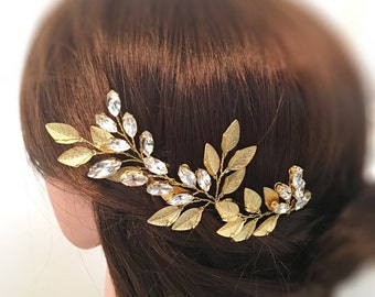 Gold wedding hair pins x3, flower headpiece bridal hair accessories, bridal hair pins, wedding hair piece, wedding hair flowers bridal pins
