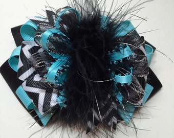 Big Fun Over the Top Hair Bow Cute Black Chebron Marabou Large Boutique