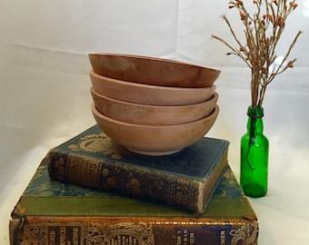 Set of 4 Four Vintage Wooden Salad Bowls Japan Midcentury
