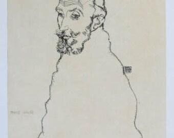 """Schiele Egon 39, Lithograph,""""Portrait of Franz Hauer"""""""