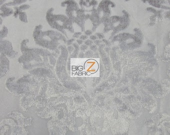 Damask Medallion Velvet Burnout Drapery Fabric - GRAY - Sold By The Yard Curtains Decor Drapery Clothing Accessories