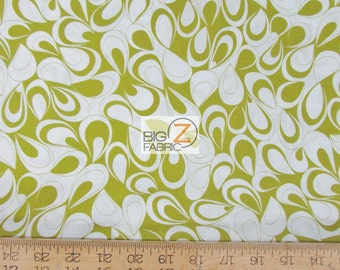 100% Cotton Fabric By Benartex Fabrics - Catalina Spectator Abstract Green/White - Sold By The Yard (FH-2086)
