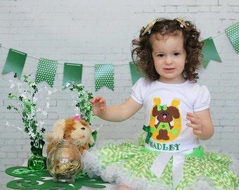 Embroidered Shirt, Girls Shirt, Baby Shirt, Puppy Shirt, St Patrick's Day, Lucky Dog Shirt, Modern Kids, Girls, Baby Girls, Teen Girls, Cute