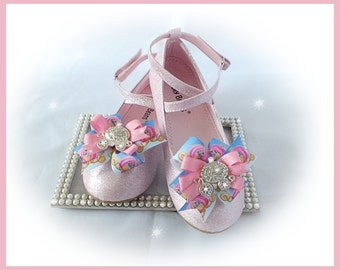 Shoe Bow Clips, Princess Shoe Bow Clips, Girl Shoe Bow Clips, Toddler Shoe Bow Clips, Photo Prop, Pageant Shoe Bow Clips.