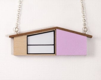 MidCentury Modern House Necklace | Wooden Necklace | Lilac Necklace | Wooden Jewelry | Laser cut Jewelry