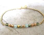 Charm Bracelet-Delicate Jewelry-Dainty Bracelet-Personalized Bracelet-Initial Charm-Monogram Jewelry-Gift Bracelet-Czech Glass-Free Shipping