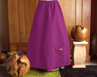 Plus sizes - US 18 - 32, UK 20 - 34 , Palazzo pants/trousers European Layering Look - linen , mulberry