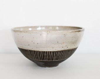Large Mid Mod Black Serving Bowl