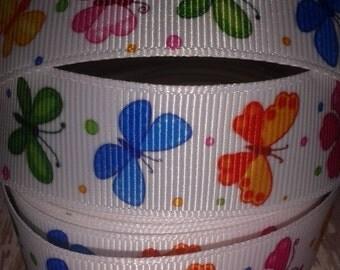 """7/8"""" Butterflies #2 Grosgrain Ribbon"""